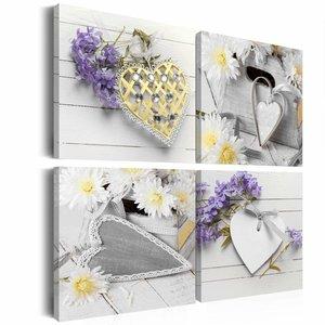 Schilderij - White hearts, Wit/Paars, 2 Maten, 4luik