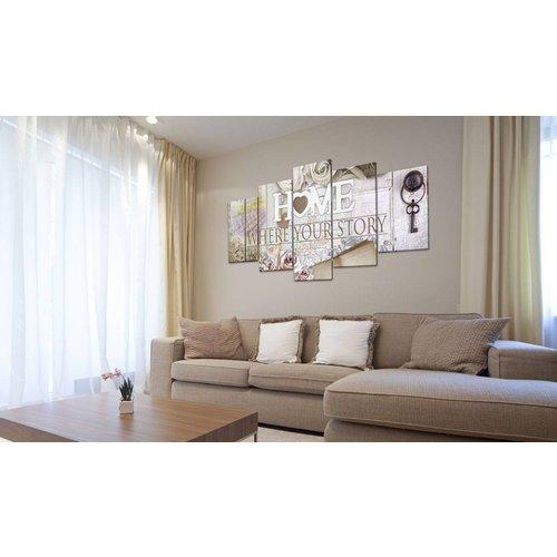 Schilderij - Home..., 5 luik, Multikleur, 2 maten, premium print