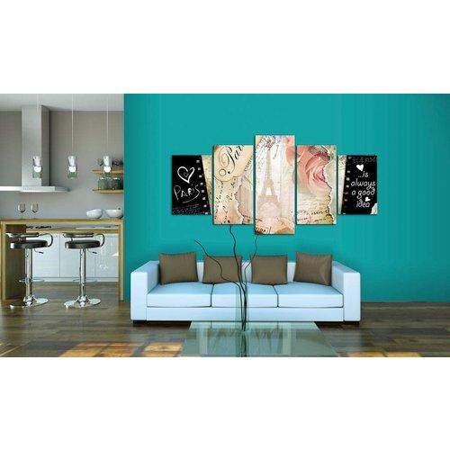 Schilderij - Altijd mooie Parijs, Multi-gekleurd, 5luik