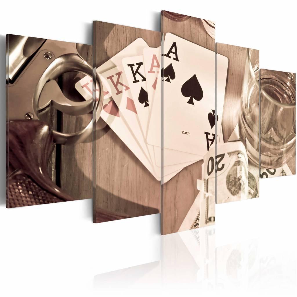 Schilderij - Poker nacht, 5 luik, Sepia, 2 maten, Premium print