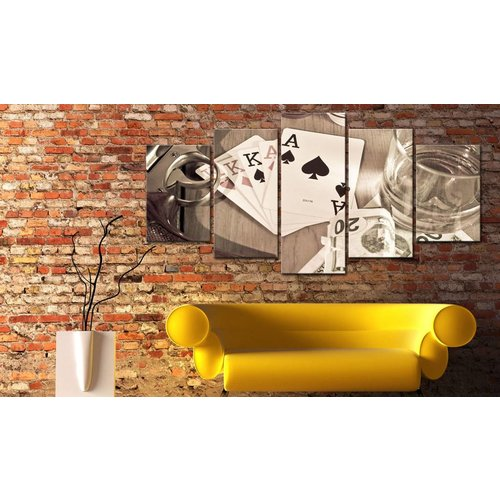 Schilderij - Poker nacht  - sepia, 5luik