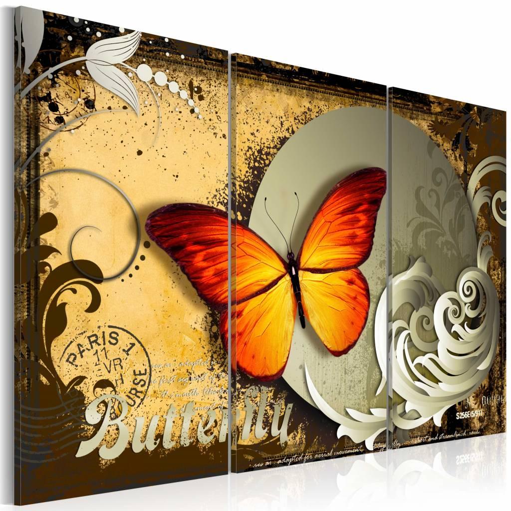 Schilderij - Vlucht van een Vlinder, 3 luik, Multikleur, 3 maten, Premium print