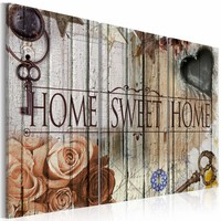 Canvas Schilderij - Home sweet home, Multi-gekleurd, 2 Maten, 3luik