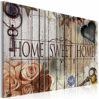 Schilderij - Home sweet home, Multi-gekleurd, 2 Maten, 3luik