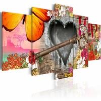 Schilderij - Liefde op canvas, Multi-gekleurd, 2 Maten, 5luik