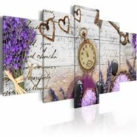 Schilderij - Tijd voor liefde, 5 luik, Beige/Paars, 2 maten, Premium print