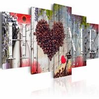 Schilderij - Hart van Koffie, 5 luik, Multikleur, 2 maten, Premium print