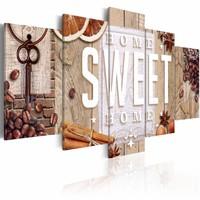 Schilderij - Koffie en kruiden thuis, home sweet home, Bruin, 2 Maten, 5luik