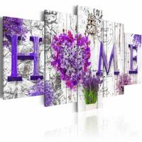 Schilderij - Thuis met bloemen, 5 luik, Paars/Wit, 2 maten, Premium print