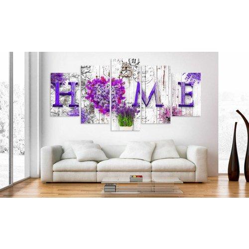 Schilderij - Thuis met bloemen, Paars, 5luik