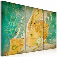 Schilderij - Kaart van New York City's wijken, Groen/Geel, 2 maten, 3luik