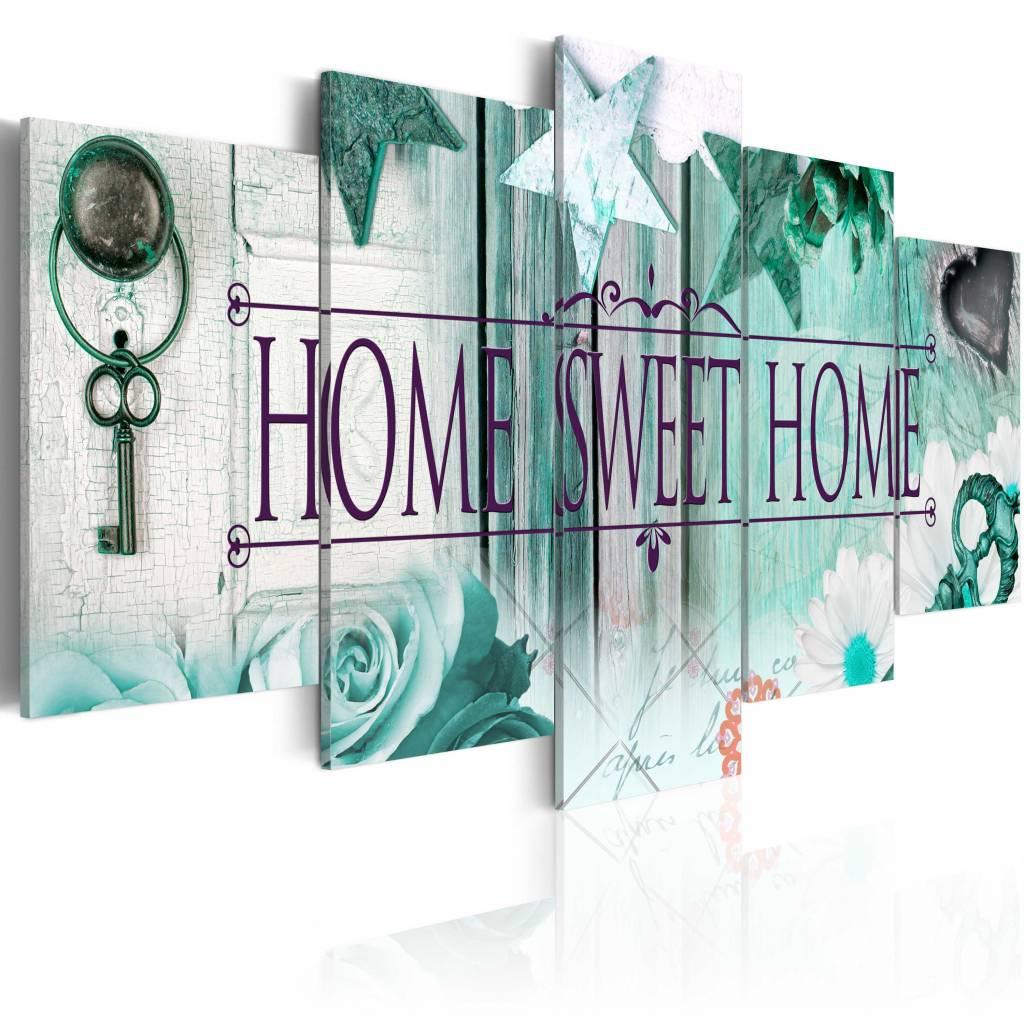 Schilderij - Home Sweet Home - , Mintgroen , 5 luik , 2 maten