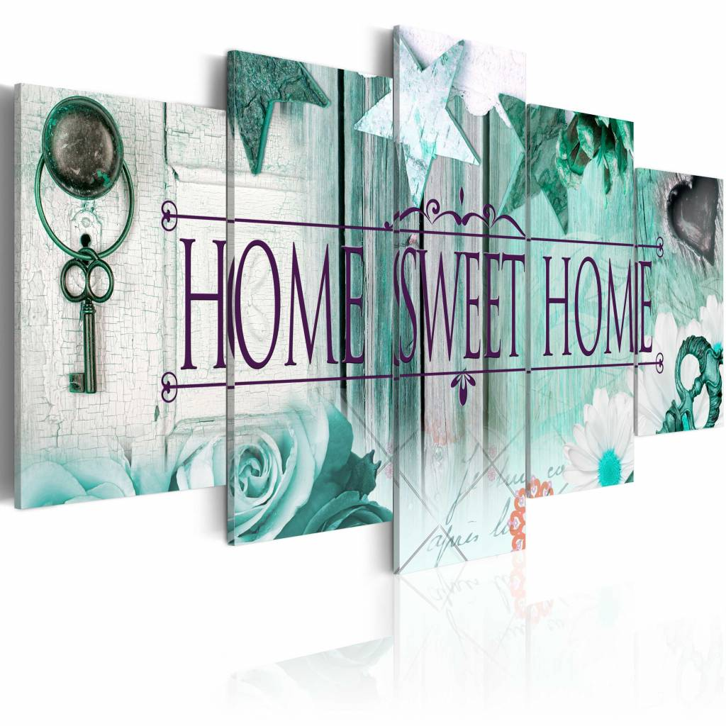 Schilderij - Home Sweet Home - , Mintgroen , 5 luik
