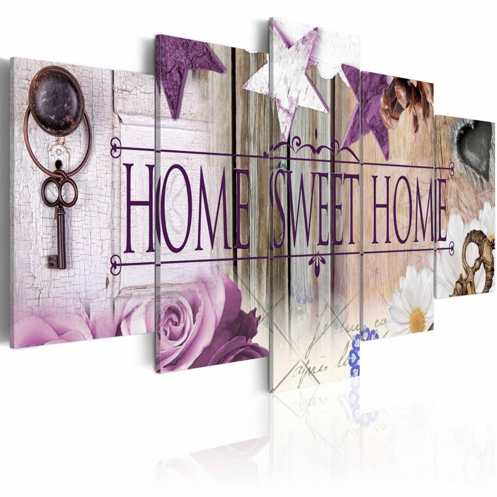 Schilderij - Home Sweet Home - , Paars , 5 luik . 2 maten