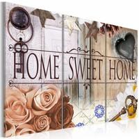 Schilderij - Home in vintage stijl, Bruin, 2 Maten, 3luik