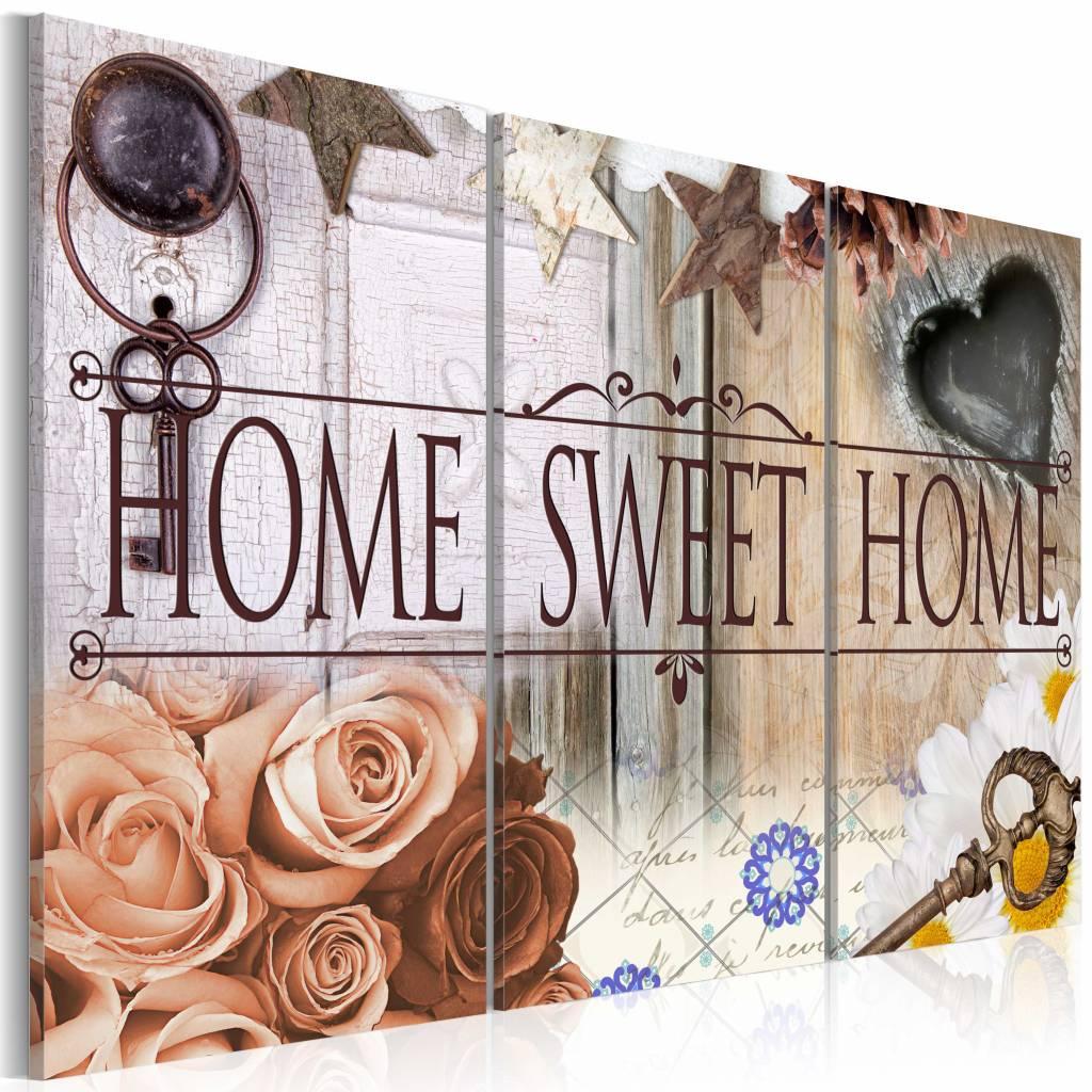 Schilderij - Home in vintage stijl, 3 luik, Multikleur, 3 maten, Premium print