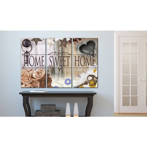 Schilderij - Home in vintage stijl, 3luik