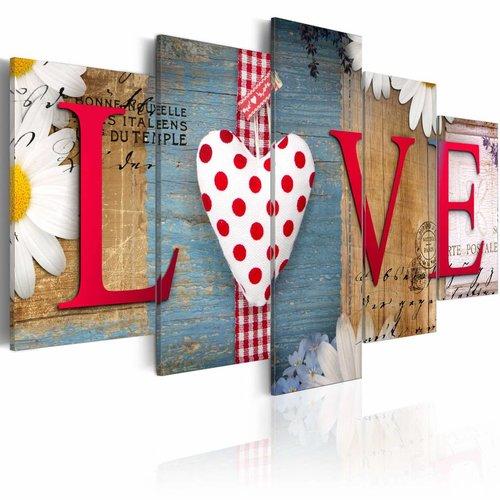 Schilderij - LOVE - handgemaakt, 5 luik, Multikleur, 2 maten, Premium print