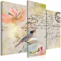 Schilderij - Briefkaart uit het verleden, 3 luik, Multikleur, 2 maten, Premium print