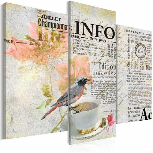 Schilderij - De Ochtendkrant, 3 luik, Multikleur, 2 maten, Premium print