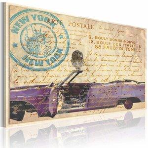 Schilderij - Oude brieven uit New York, Bruin/Paars, 2 Maten, 1luik