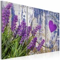 Schilderij - Lavendel liefde, Paars, 2 Maten, 3luik