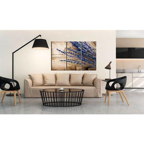 Schilderij - Lavendel, 3 luik, Bruin/Paars, 3 maten, Premium print