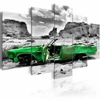 Schilderij - Oldtimer in het groen, 5 luik, Grijs/Groen, 2 maten, Premium print