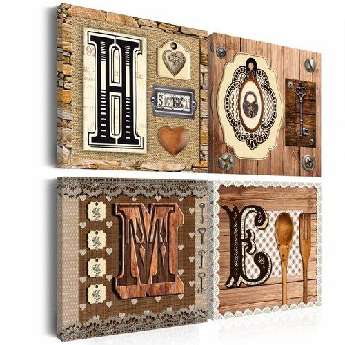 Schilderij - There is no place like home, 4 luik, Bruin/Beige, 4 maten, Premium print