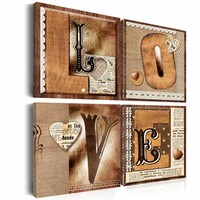 Schilderij - Boek van de liefde, 4 luik, Bruin/Beige, 4 maten, Premium print