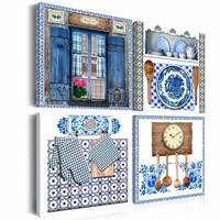 Schilderij - Traditie, 4 luik, Blauw/Wit/Bruin, 4 maten, Premium print