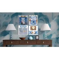 Schilderij - Traditie, Blauw, 4luik