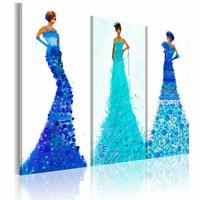Schilderij - Chique outfits  , Blauw, 2 Maten, 3luik