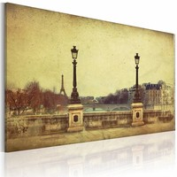 Schilderij - Parijs de stad van dromen, Sepia, 3 maten, Premium print