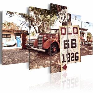 Schilderij - California - vintage style, Multi-gekleurd, 2 Maten, 5luik