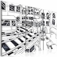 Schilderij - Treinstation, Manhattan ( zwart / wit ) , 3 luik 2 maten