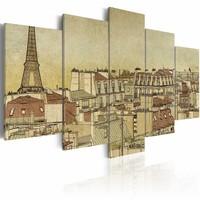 Schilderij - Parijs door de eeuwen heen , 5 luik, Beige/Bruin, 2 maten, Premium print