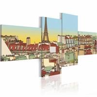Schilderij - Prachtig Parijs ,bruin blauw , 4 luik , 2 maten