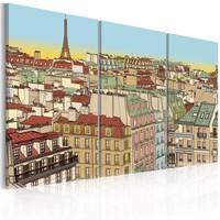 Schilderij - Mooi Parijs , bruin blauw , 3 luik , 2 maten