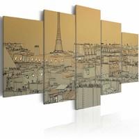 Schilderij - Parijs (Vintage), 5 luik, Beige/Grijs, 2 maten, Premium print