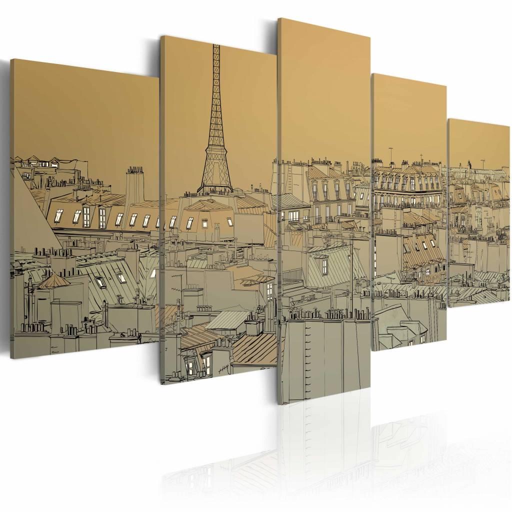 Schilderij - Parijs (Vintage) ,� 5 luik