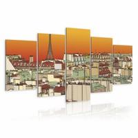 Schilderij - Oranje lucht boven Parijs , 5 luik