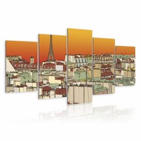 Schilderij - Oranje lucht boven Parijs , beige , 5 luik , 2 maten