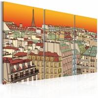 Schilderij - Gloed over Parijs , oranje beige , 3 luik , 2 maten