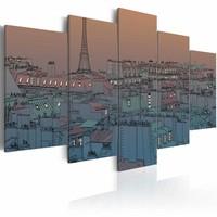 Schilderij - Parijs - de avond valt , 5 luik