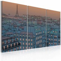 Schilderij - Parijs - de stad slaapt nooit , 3 luik