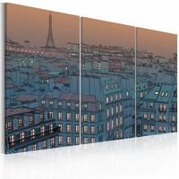 Schilderij - Parijs - de stad slaapt nooit , beige blauw , 3 luik , 2 maten