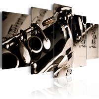 Schilderij - De klank van een klarinet, 5 luik, Zwart/Wit, 2 maten, Premium print