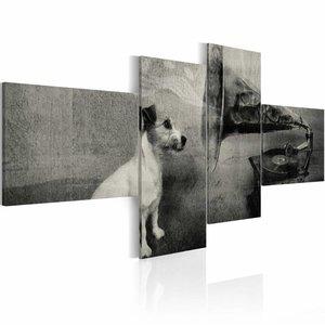 Schilderij - Hond bij grammofoon  , zwart wit , 4 luik , 2 maten