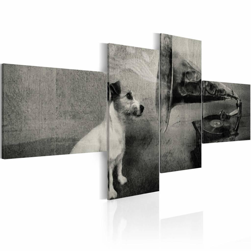 Schilderij - Hond bij grammofoon , zwart wit , 4 luik